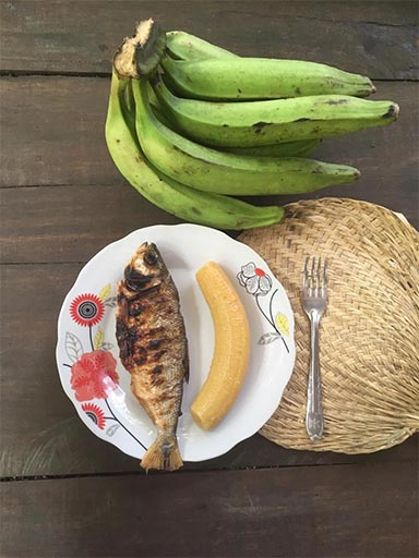 Аяваска диета в самом строгом варианте: варёный банан и рыба, жаренная на углях